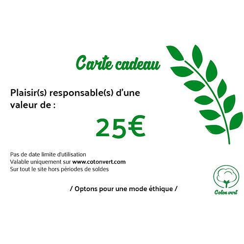 Carte cadeaux 25€ sans limitation de durée 🌿