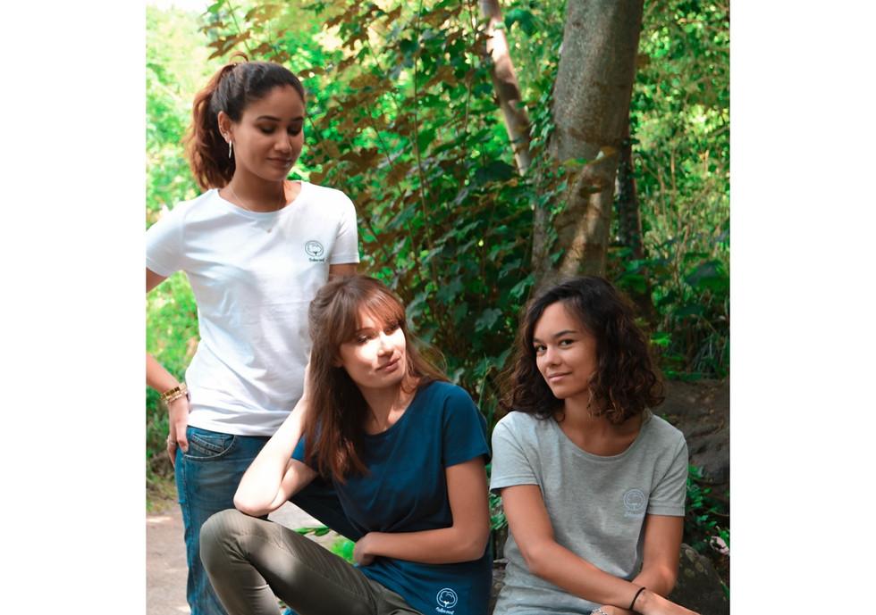 T-shirt Coton vert blanc femme broderie