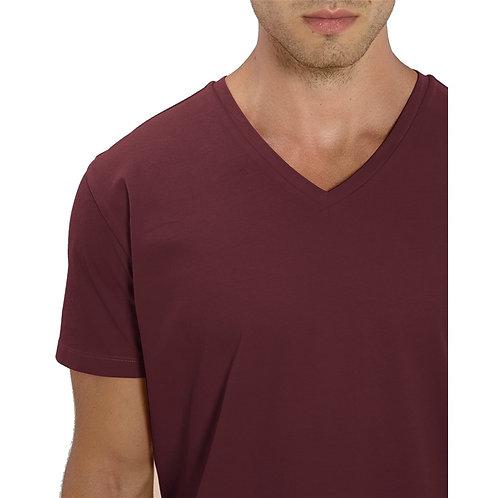 T-shirt Homme col V bordeaux en coton BIO