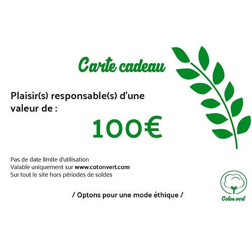 Carte cadeaux 100€ sans limitation de durée 🌿