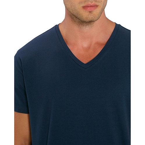 T-shirt Homme col V bleu nuit en coton BIO