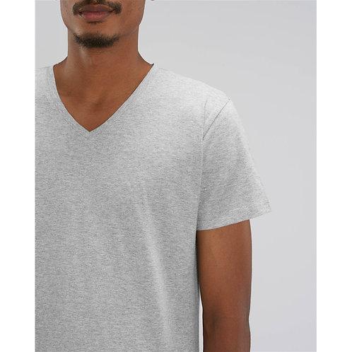 T-shirt Homme col V gris chiné en coton BIO