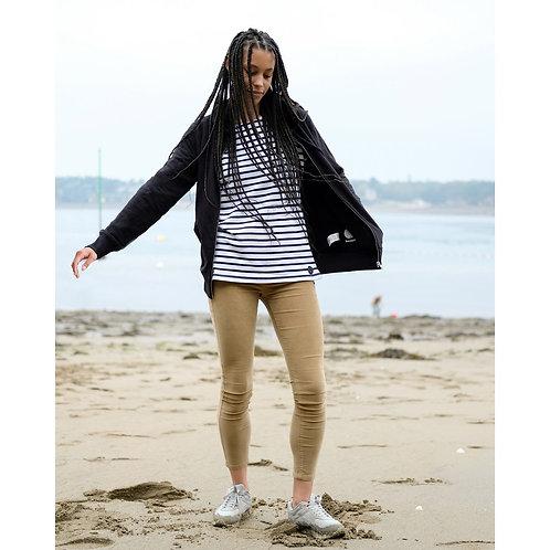 Veste capuche zippée mixte noire en coton BIO