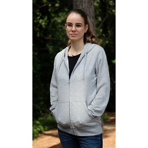 Veste capuche zippée mixte gris chiné en coton BIO