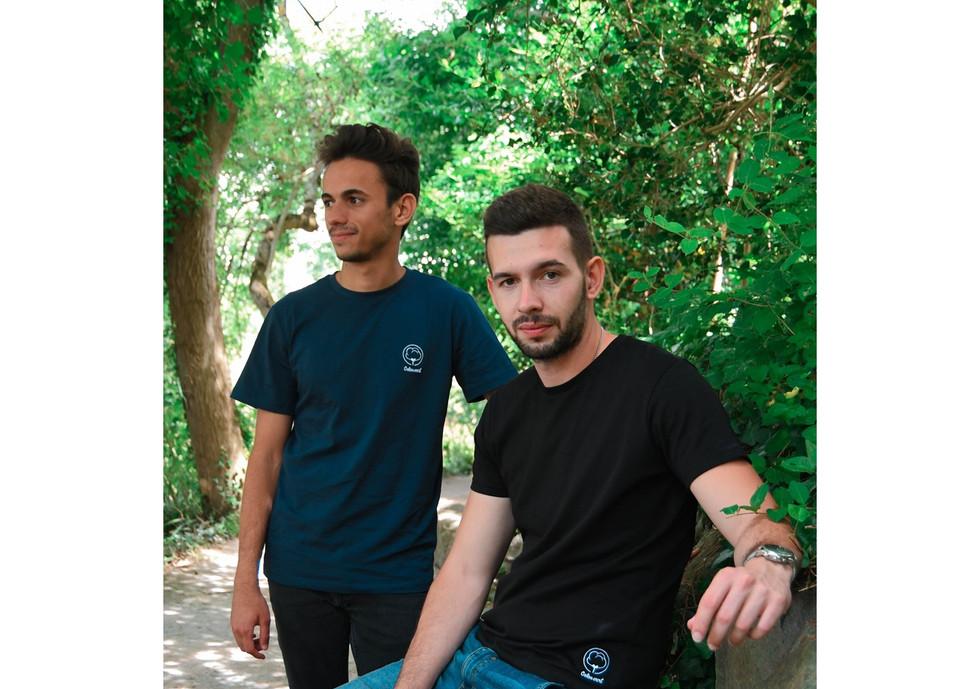 T-shirt Coton vert homme noir broderie b