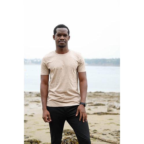 T-shirt Homme col rond sable chiné en coton BIO