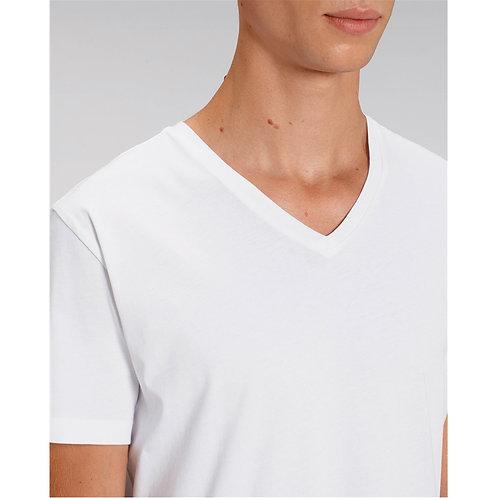 T-shirt Homme col V blanc en coton BIO