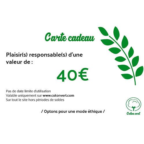 Carte cadeaux 40€ sans limitation de durée 🌿