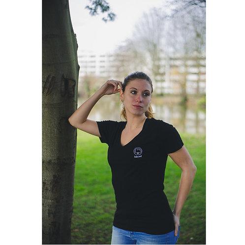 T-shirt Femme col V noir brodé en coton BIO