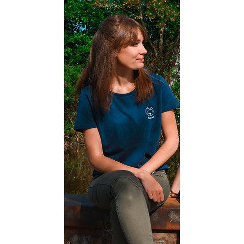 T-shirt Femme bleu brodé en coton BIO