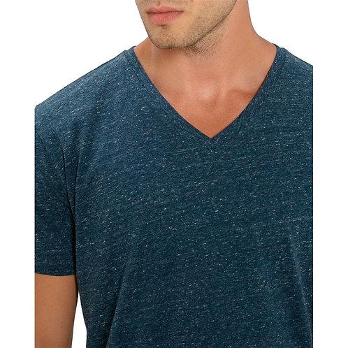 T-shirt Homme col V bleu denim chiné en coton BIO
