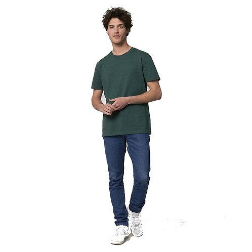 T-shirt Homme col rond vert chiné en coton BIO