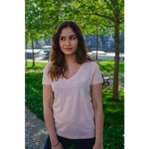 T-shirt Femme col V rose crème chiné brodé en coton BIO