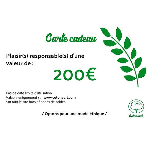 Carte cadeaux 200€ sans limitation de durée 🌿