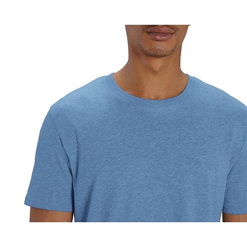 T-shirt Homme bleu ciel chiné en coton BIO