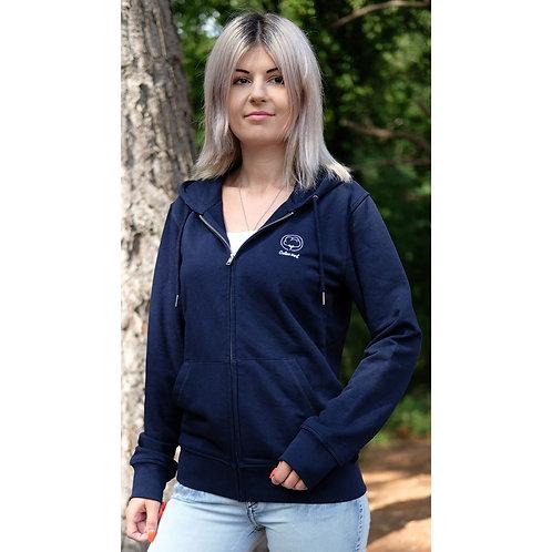 Veste capuche zippée mixte bleu marine en coton BIO
