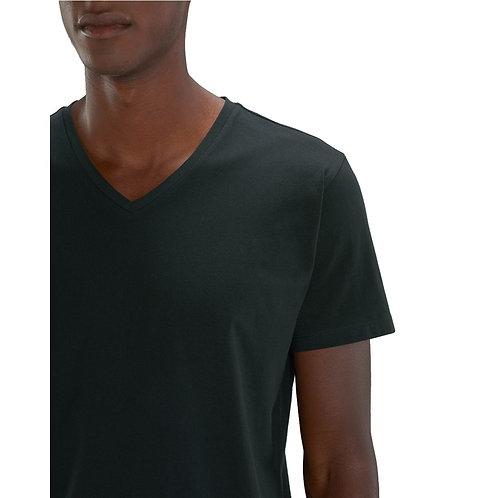 T-shirt Homme col V noir en coton BIO