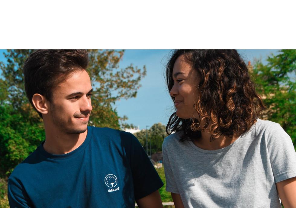 T-shirt Coton vert bleu broderie poitrin