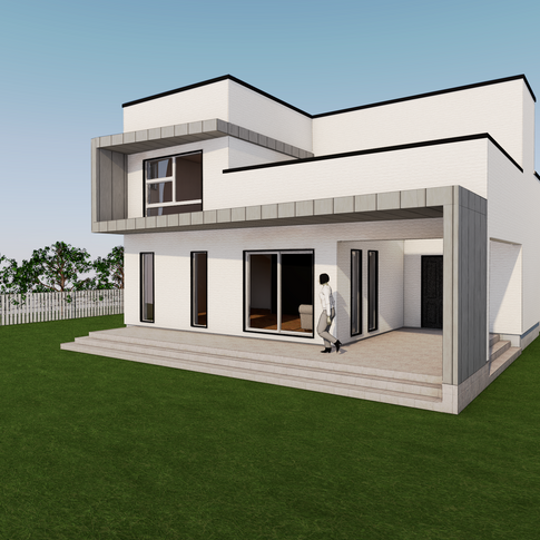 전면과 측면 을 타고 도는 외장 의 형태미를 극대화한 주택