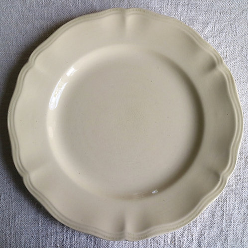0086 sarreguemines 花リム Ø 22,5cm平皿 やや黄色