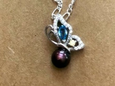 Butterfly with Blue and Yellow Stone