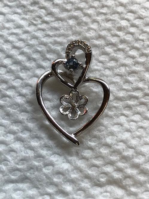 Double Heart with Blue Stone