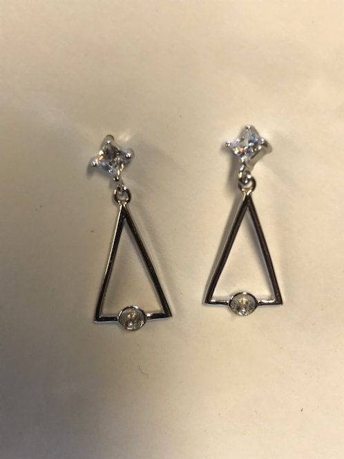 Triangle with Stone Earrings