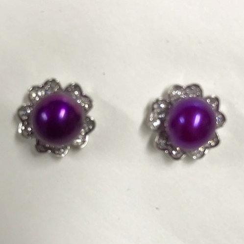 Flower Stud Pearl Earrings