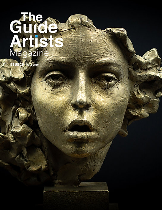 Couverture du The Guide Artists Magazine avec la sculpture en bronze Medusa fait par Irina Shark.