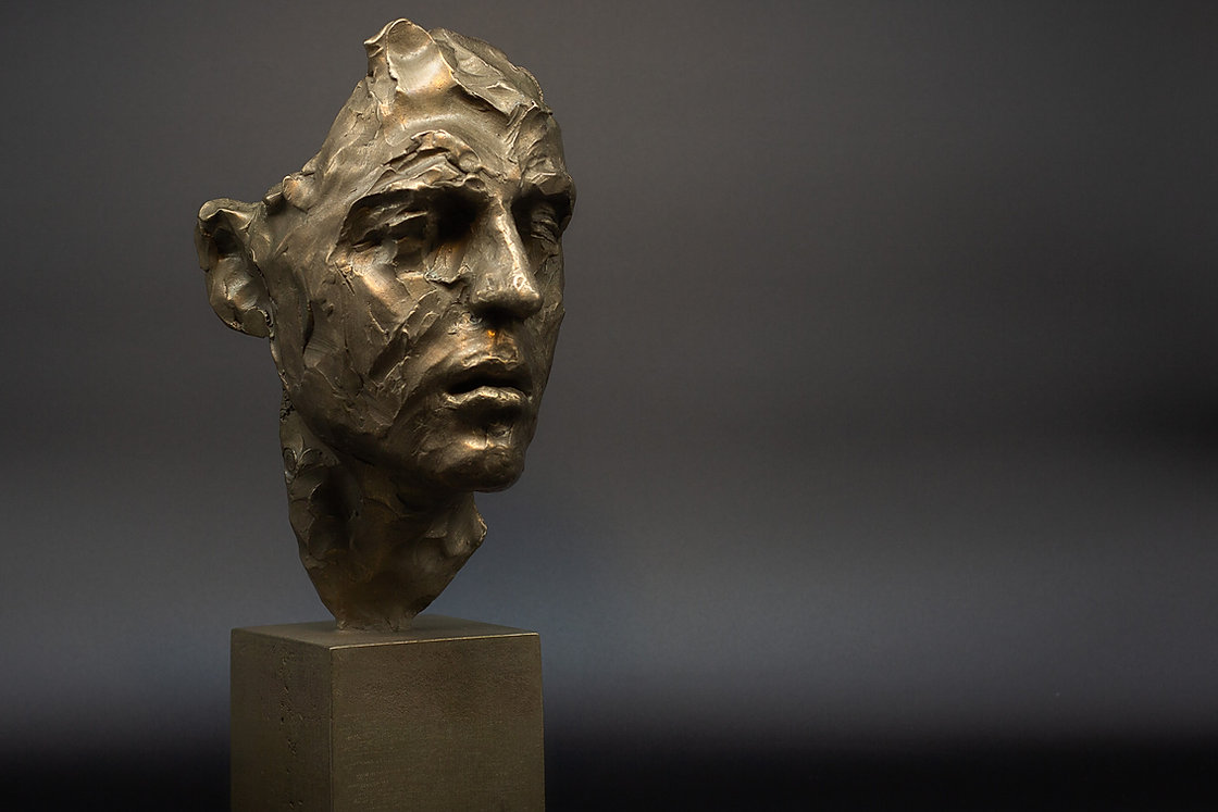 Bronze sculpture by Irina Shark, Mask of Camille, 2019