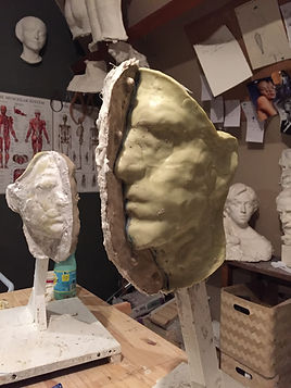 Mouldmaking process by the sculptor Irina Shark. Silicone rubber mold followed by the resin mother mould.
