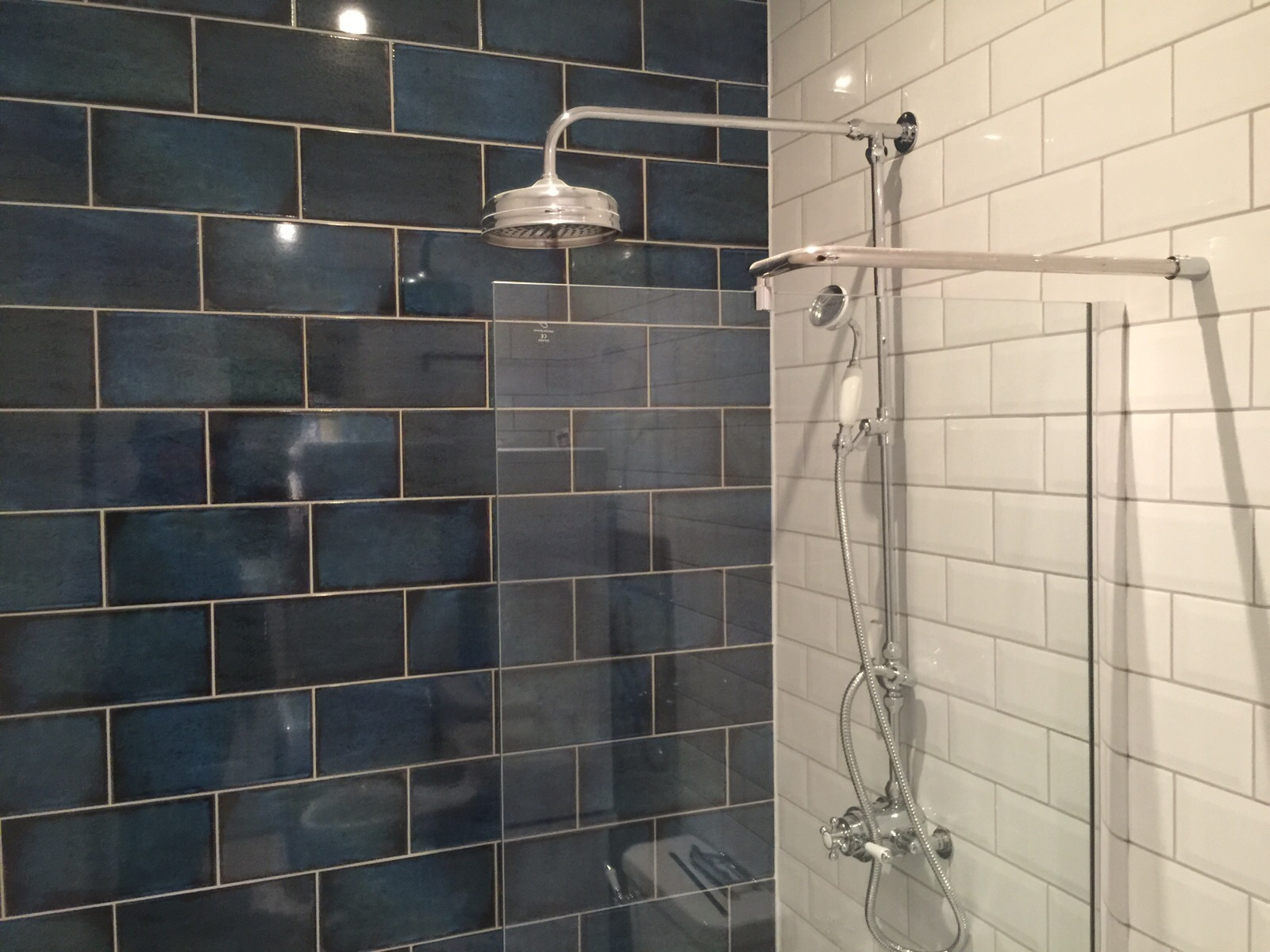 Wet room Installation with Blue tile