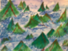 "Volcanos, New Beginnings. Watercolor painting 8.5""x11"" 2017"