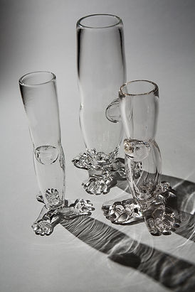 3 leg vases, clear blown glass