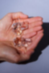 Two Hand Mudras in hands, clear glass