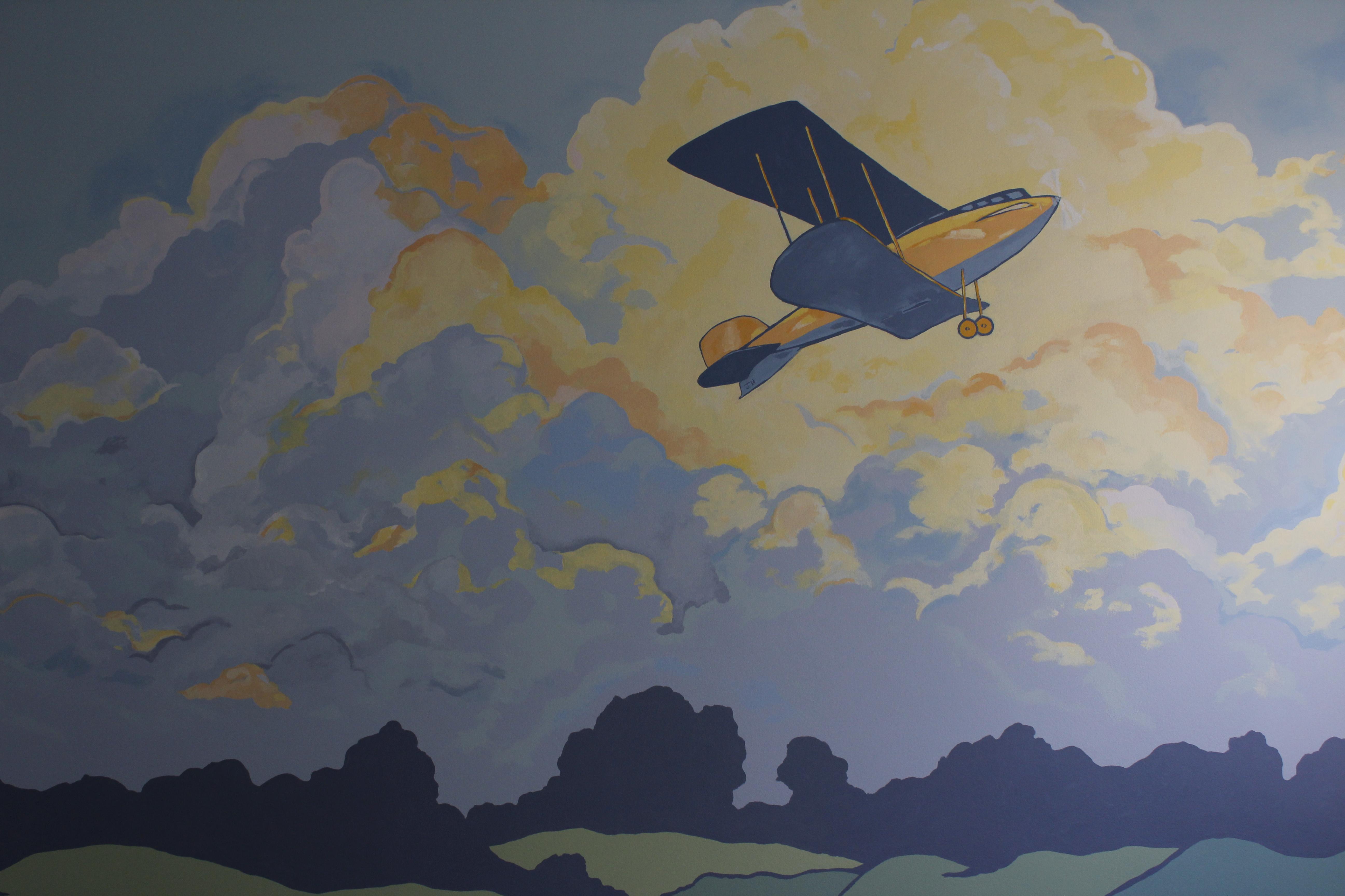 Airplane Mural in Nursery