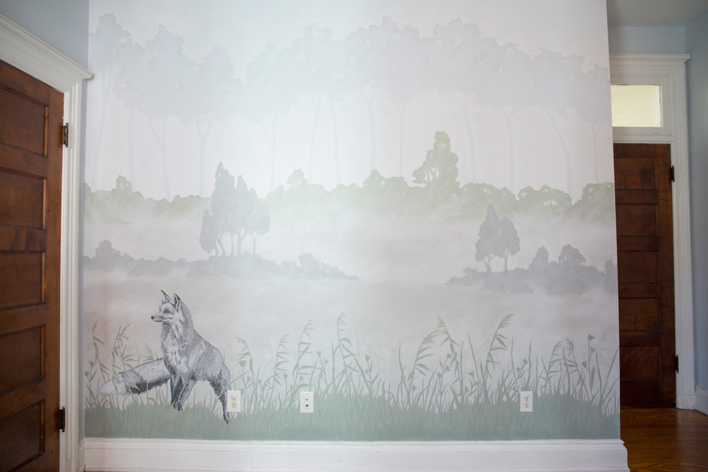 Misty Morning Fox and Hare Mural