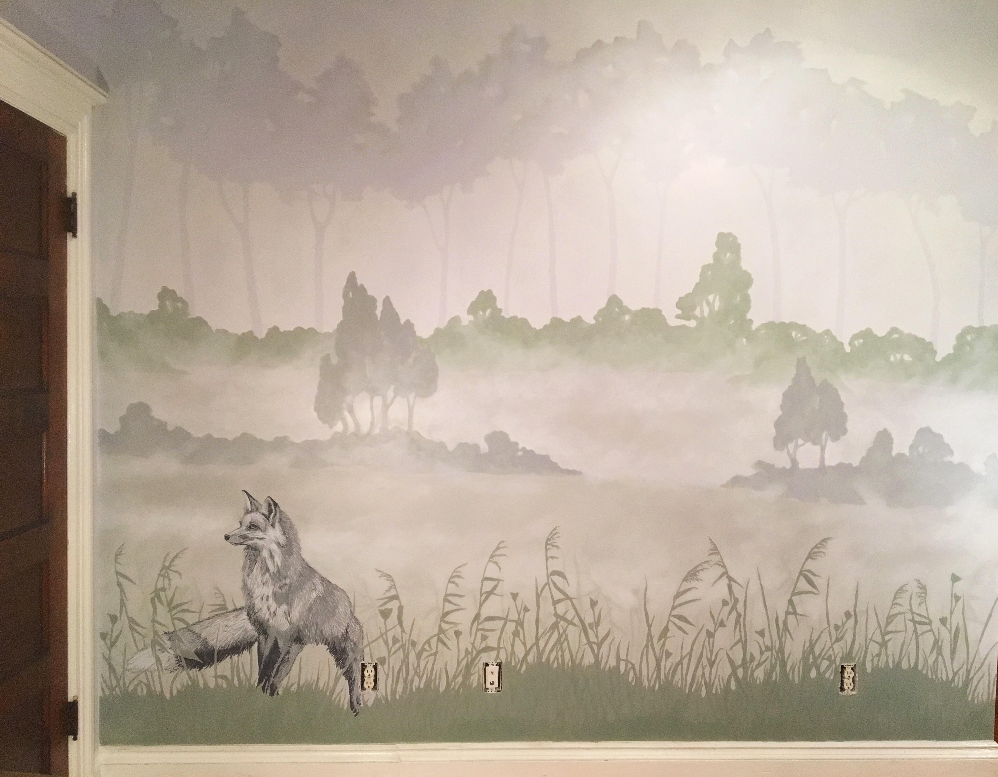 Misty Morning fox wall