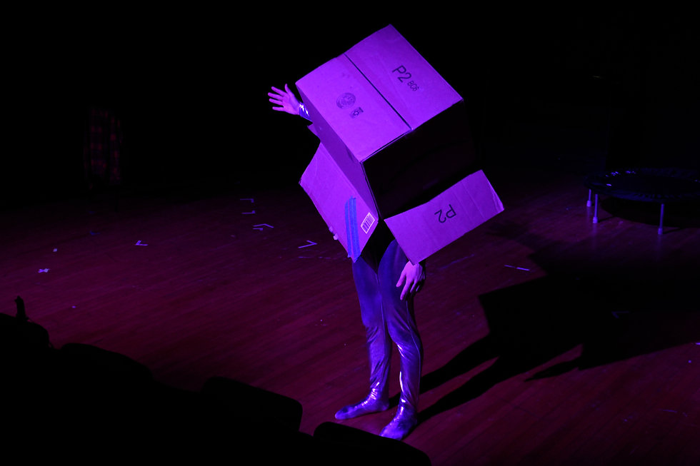 A white man in a silver leotard with a cardboard box over his head stands on a purple-lighted stage.