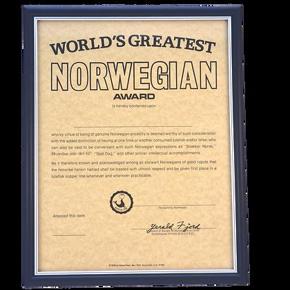 "Certificate - ""World's Greatest Norwegian"""