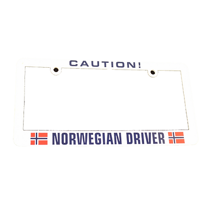 "License Plate Holder - ""Caution! Norwegian Driver"""