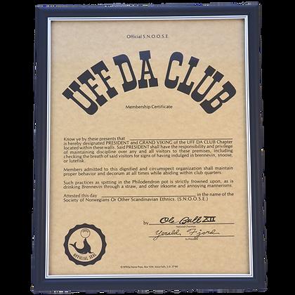 """Certificate - """"Uff Da Club Membership"""""""