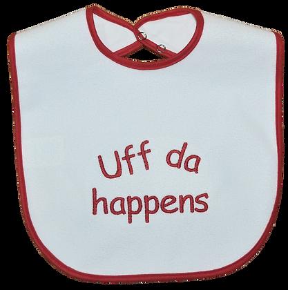 "Bib - ""Uff da Happens"" (red binding)"