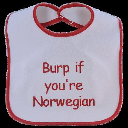 """Bib - """"Burp if you're Norwegian"""""""