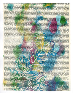 Multicoloured Pine leaf print on an encyclopedia page