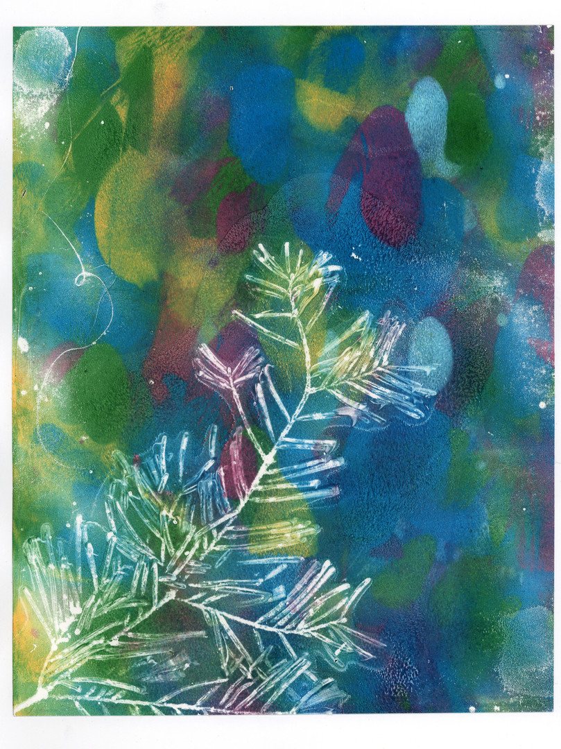 Multi coloured pine branch print