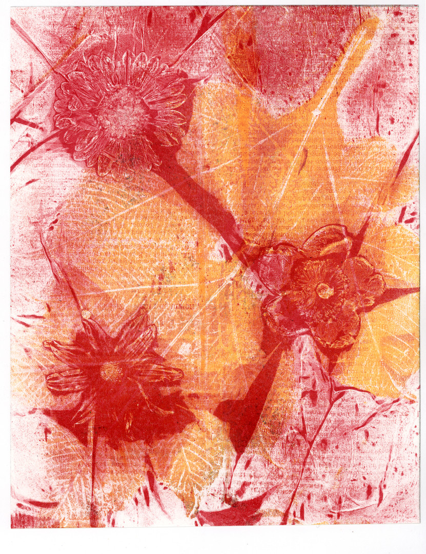 Red flower and yellow beech branch print