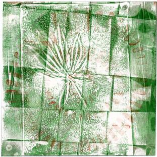 Abstract Layered Leaf and Circle Art Print