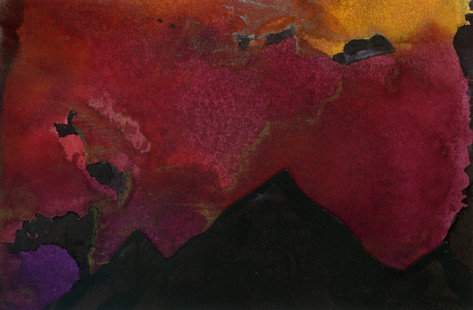 Red, purple and yellow mixed media print