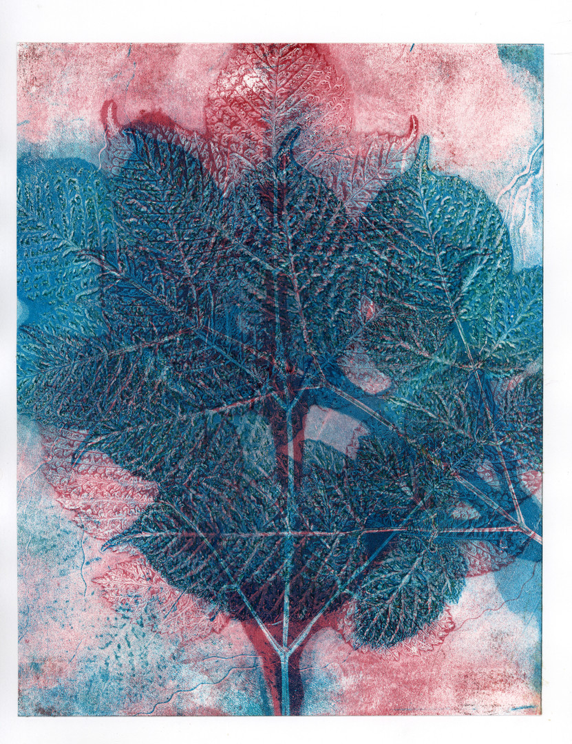 Blue and red birch branch print